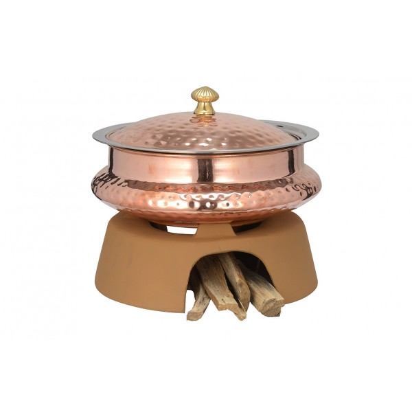 Copper Ss Chafing Dishes With Chowki Stand CKA-597