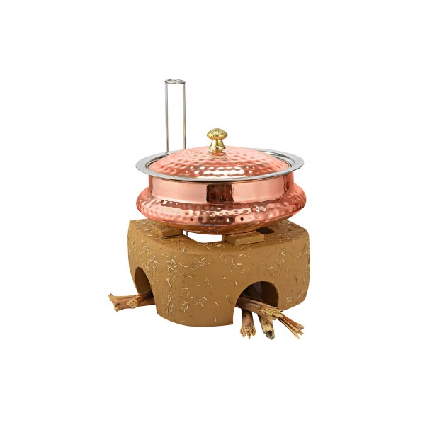 Copper Ss Chafing Dishes With Chowki Stand CKA-599