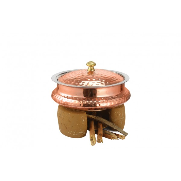Copper Ss Chafing Dishes With Chowki Stand CKA-601