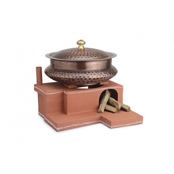 Copper Ss Chafing Dishes With Chowki Stand CKA-607