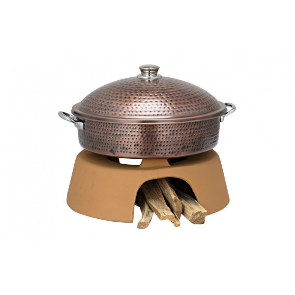 Copper Ss Chafing Dishes With Chowki Stand CKA-623