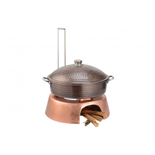 Copper Ss Chafing Dishes With Chowki Stand CKA-624