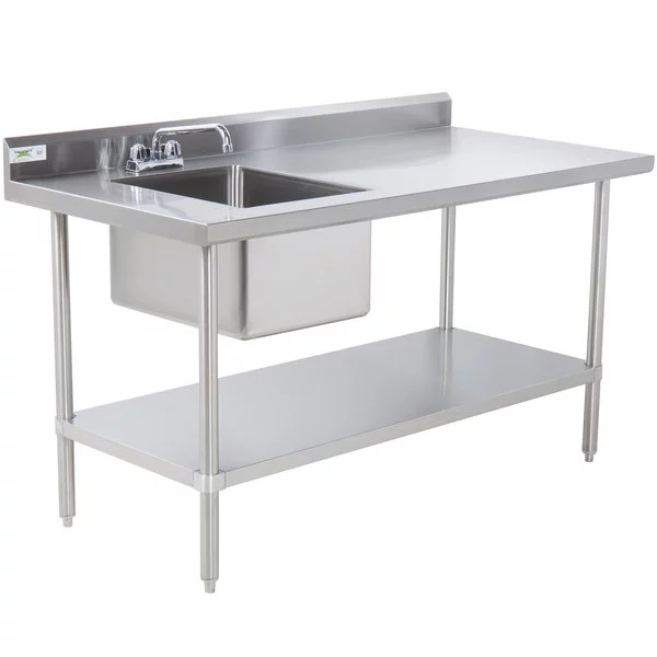 Stainless Steel Table With Single Sink 304 4'x4'