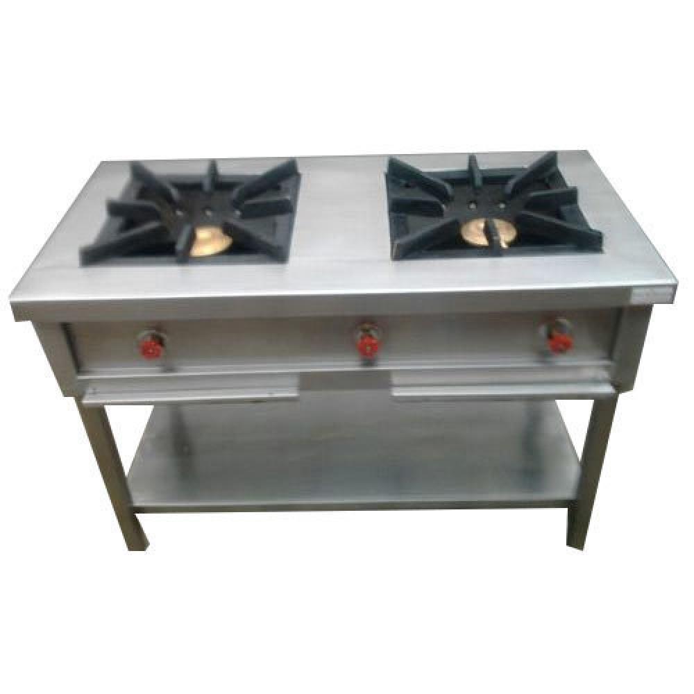 Commercial Gas Range Double Burner Stainless Steel