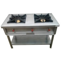 Commercial Gas Range Double Burner Stainless Steel
